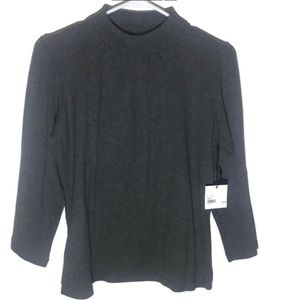 Kate Hill Gray Mock Neck 3/4 Sleeve Top